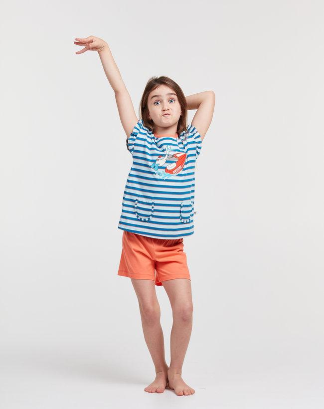 Woody Meisjes-Dames pyjama, blauw-rood gestreept