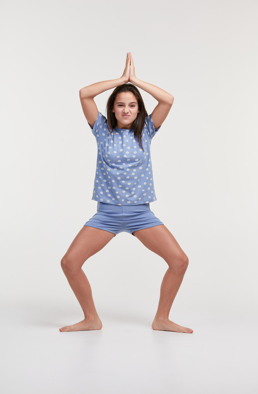 Woody Meisjes-Dames pyjama, madeliefjes blauw