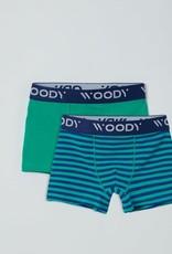 Woody Jongens short, duopack groen + blauw groen gestreept