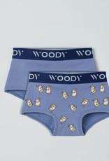 Woody Meisjes short, duopack blauw + blauw cavia geprint