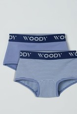 Woody Meisjes short, duopack blauw + blauw gebroken wit gestreept