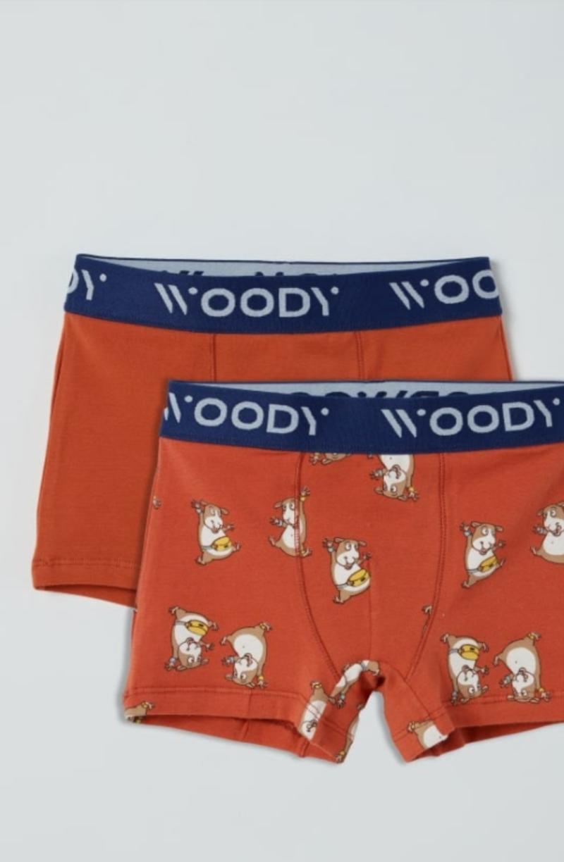 Woody Jongens short, duopack donkerrood + donkerrood cavia geprint