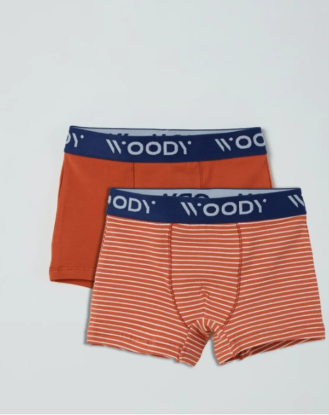 Woody Jongens short, duopack donkerrood + donkerrood gebroken wit gestreept