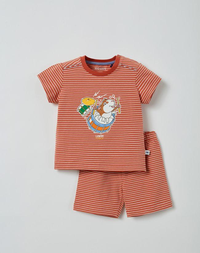 Woody Unisex pyjama, donkerrood-gebroken wit gestreept