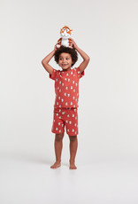Woody Jongens-Heren pyjama, donkerrood cavia