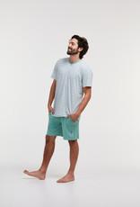 Woody Jongens-Heren pyjama, blauw groen gebroken wit gestreept