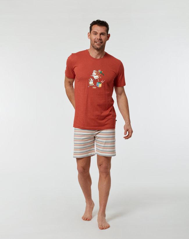 Woody Jongens-Heren pyjama, donkerrood