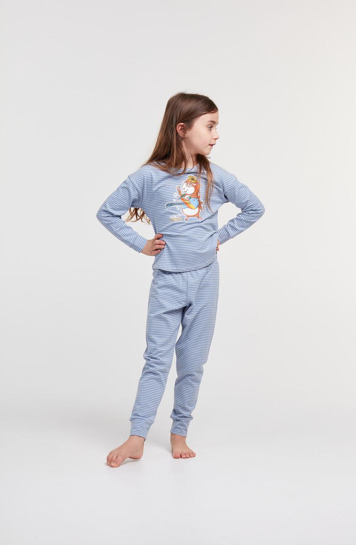 Woody Meisjes-Dames pyjama, blauw-gebroken wit gestreept
