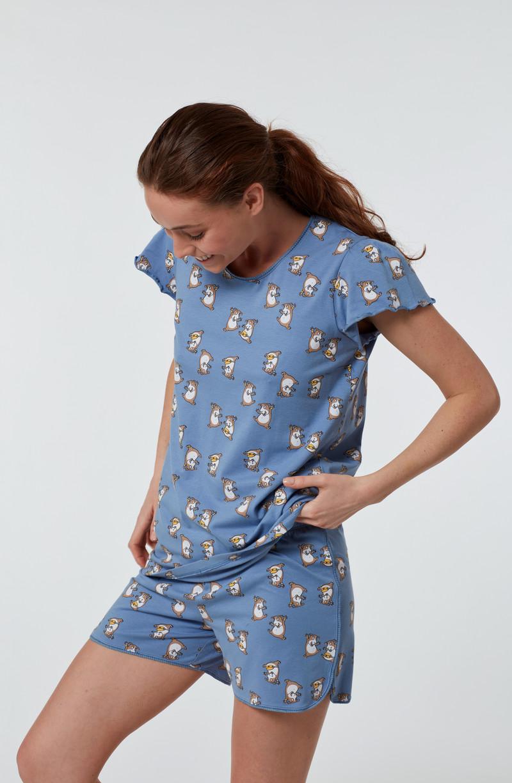 Woody Meisjes-Dames pyjama, blauw cavia