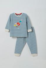 Woody Unisex pyjama, blauw - gebroken wit gestreept