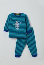 Woody Unisex pyjama, blauw-groen gestreept