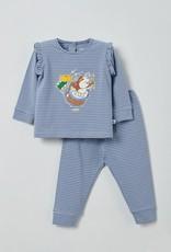Woody Meisjes pyjama, blauw-gebroken wit gestreept