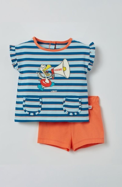 Woody Meisjes pyjama, blauw-rood gestreept