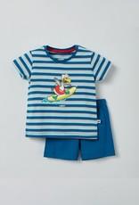 Woody Unisex pyjama, blauw-rood gestreept