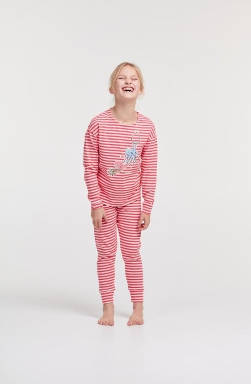 Woody Meisjes-Dames pyjama, roze gestreept