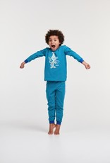 Woody Jongens-Heren pyjama, blauw-groen gestreept