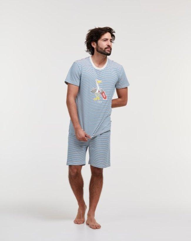Woody Jongens-Heren pyjama, blauw - gebroken wit gestreept