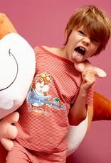 Woody Jongens-Heren pyjama, donkerrood-gebroken wit gestreept