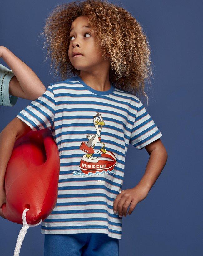 Woody Jongens-Heren pyjama, blauw-rood gestreept