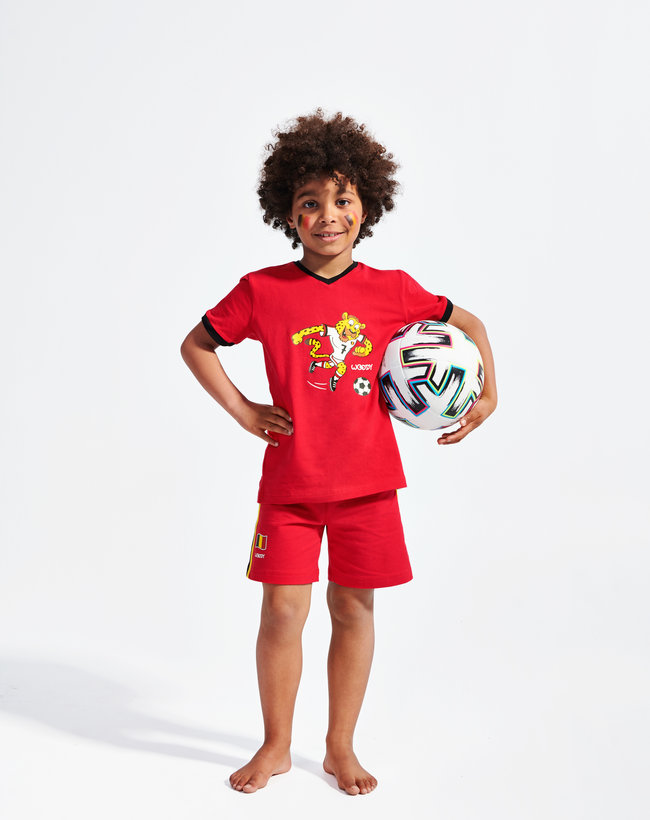 Woody pyjamas - top V-neck short sleeves - short pants, red devil jaguar