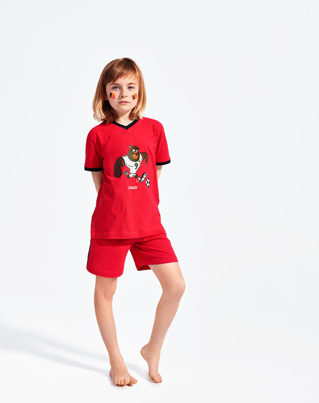 Woody pyjamas - top V-neck short sleeves - short pants, red devil bear