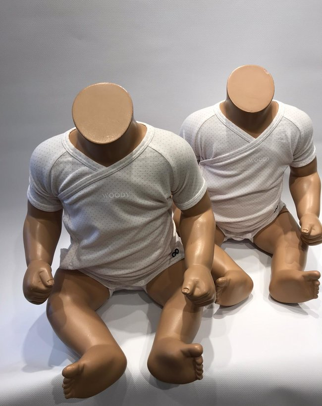 Woody Newborn body KM - duopack, roze dots