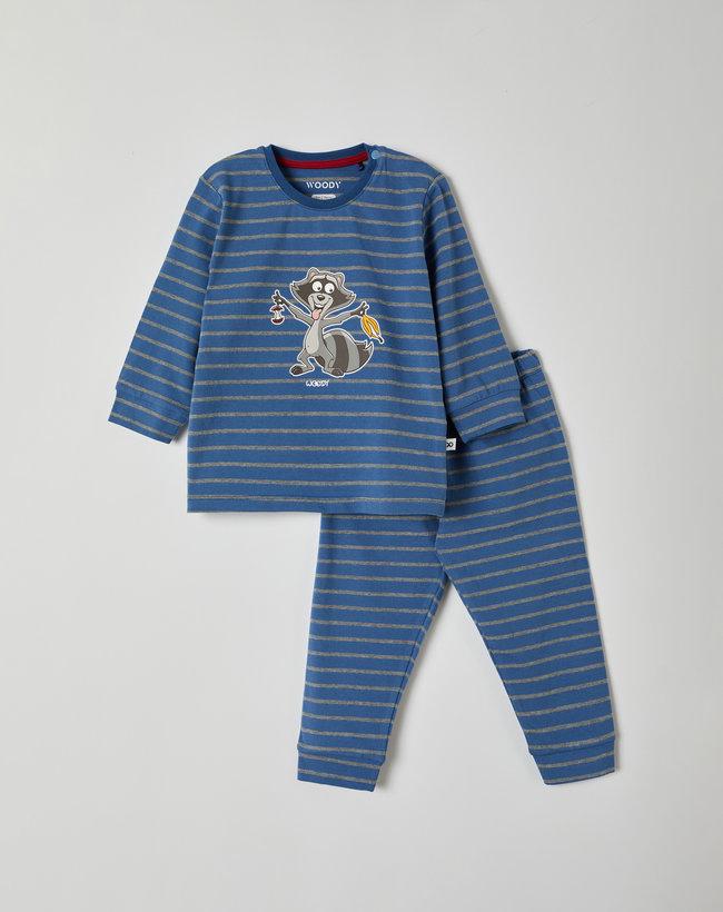 Woody Jongens pyjama, blauw-grijs gestreept