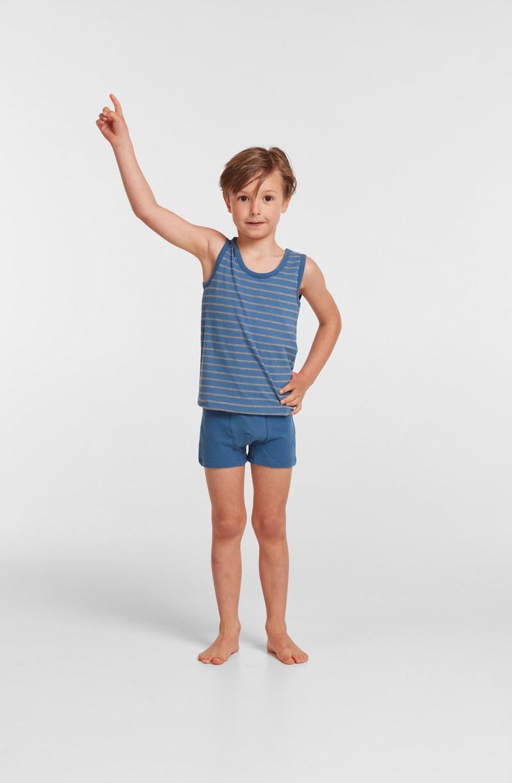 Woody Jongens singlet, blauw-grijs gestreept