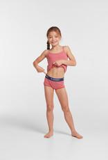 Woody Meisjes singlet, rood-roze gestreept