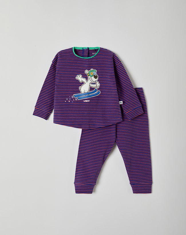 Woody Meisjes pyjama, blauw-oranjerood gestreept