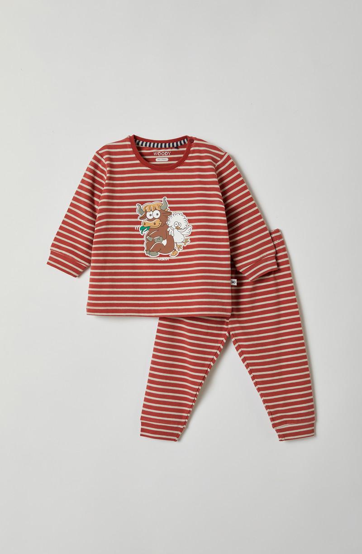 Woody Jongens pyjama, rood-beige gestreept