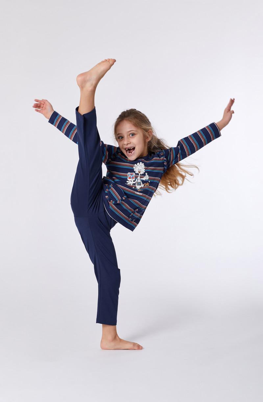 Woody Meisjes-Dames pyjama, multicolor gestreept