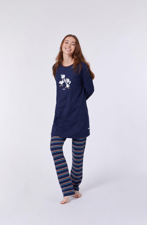 Woody Meisjes-Dames pyjama, donkerblauw