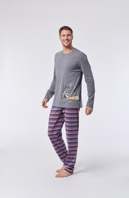 Woody Jongens-Heren pyjama, grijs mélange