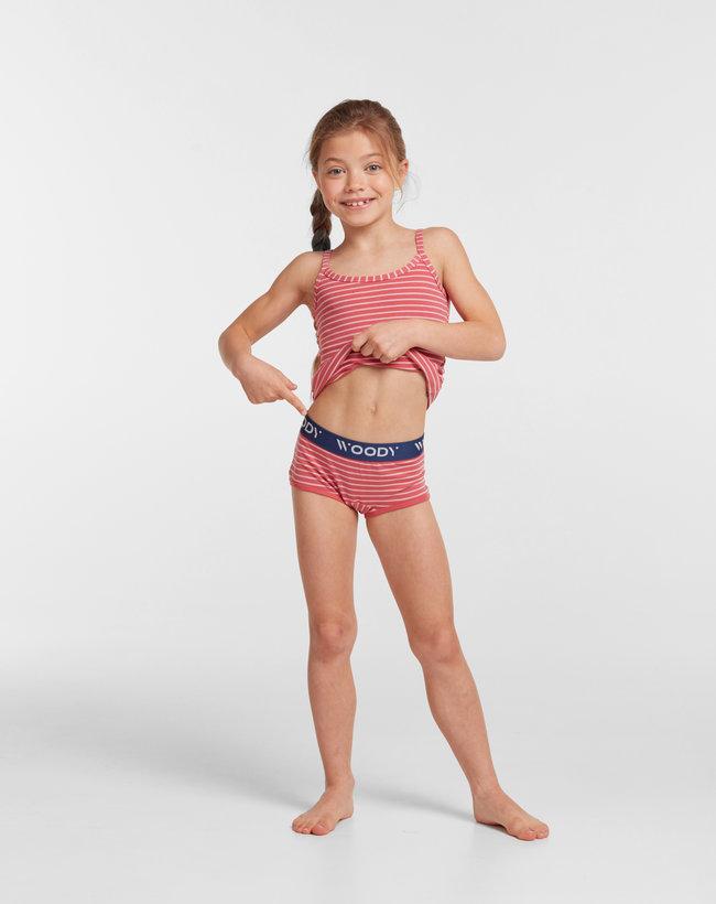 Woody Meisjes short, duopack rood + rood roze gestreept