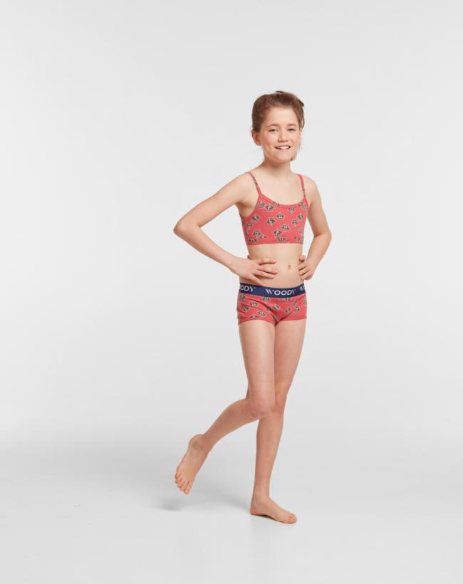 Woody Meisjes short, duopack rood wasbeer geprint + rood roze gestreept