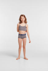 Woody Meisjes short, duopack donkerblauw + donkerblauw beige gestreept