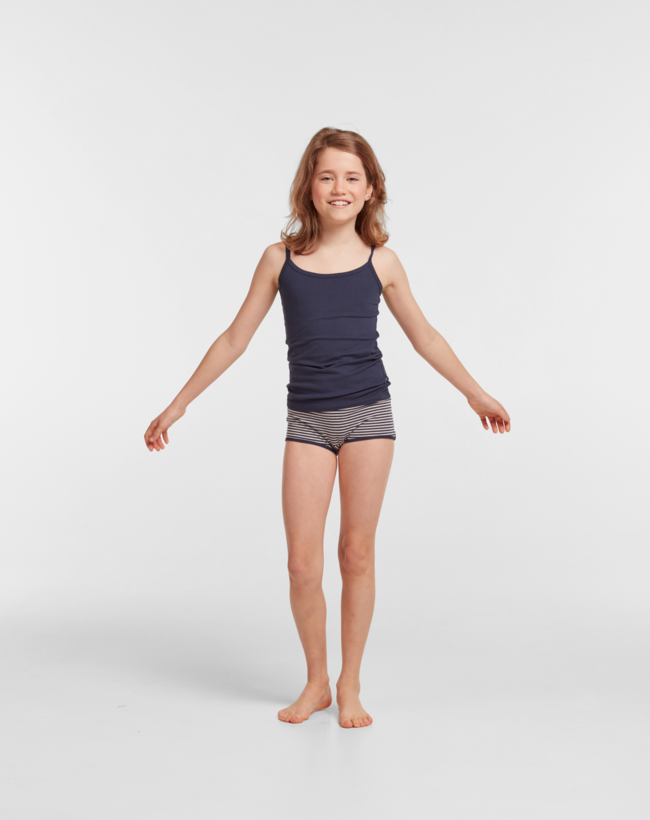 Woody Meisjes short, duopack donkerblauw hooglander geprint + donkerblauw beige gestreept