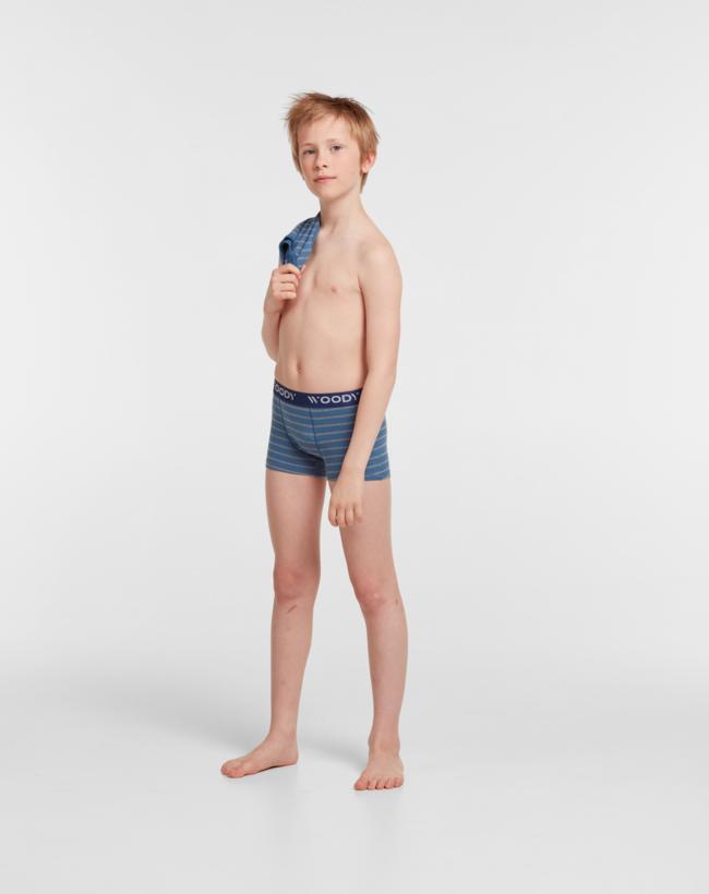 Woody Jongens short, duopack blauw + blauw grijs gestreept