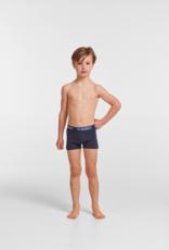 Woody Jongens short, duopack donkerblauw + donkerblauw hooglander geprint