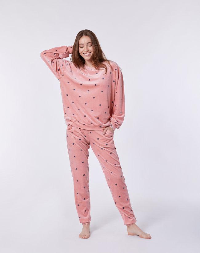 Woody Meisjes-Dames sweater en broek, roze sterren