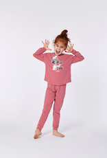 Woody Meisjes-Dames pyjama, rood-roze gestreept