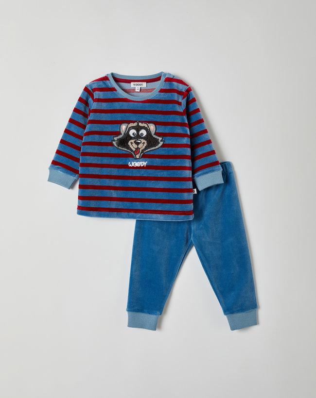 Woody Jongens pyjama, blauw-rood gestreept