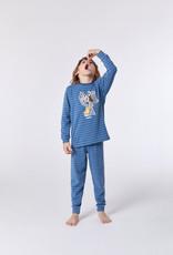 Woody Jongens-Heren pyjama, blauw-grijs gestreept