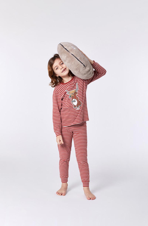 Woody Jongens-Heren pyjama, rood-beige gestreept