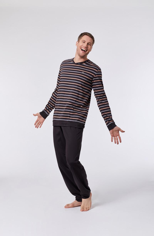 Woody Heren pyjama, multicolor gestreept