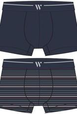 Woody Jongens-Heren short, duopack donkerblauw + multicolor gestreept