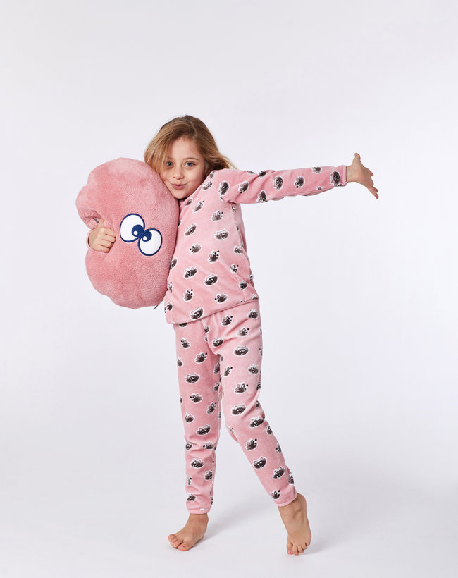 Woody Meisjes-Dames pyjama, roze wasbeer