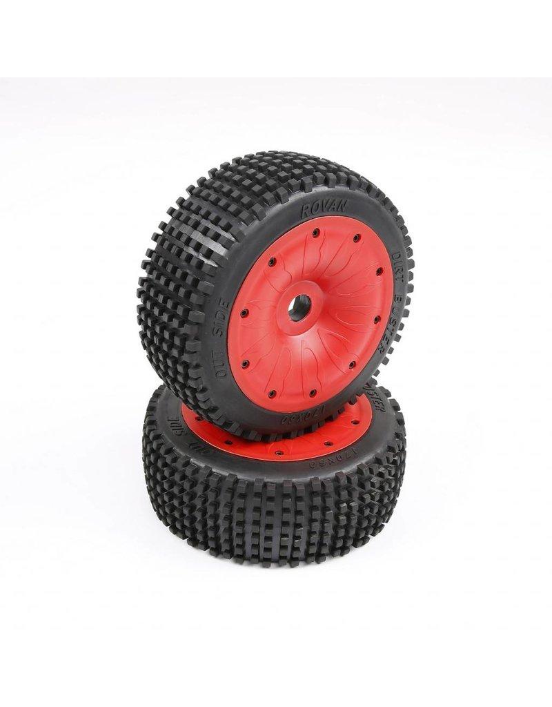 RovanLosi LT /  Losi 5T klein pin banden met gesloten beadlocks in kleuren rood en groen 180x 70 (2pcs)