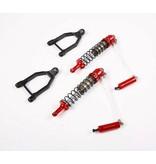 Rovan  Baja CNC HD 10mm schokbrekers voorzijde met hydraulische oliebuffer en bijpassende draagarmen (2 st.)
